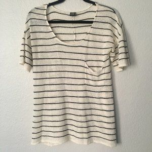 Astars Casual Black and White Stripe Knit Top Med